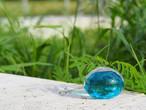 沖縄の思い出ペーパーウェイト(ターコイズ)箱あり 琉球ガラス工房 雫