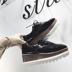 【shoes】カジュアルスクエアトゥPUウェッジソールパンプス18554147