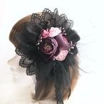 1点物★ヘッドドレス&コサージュ(黒×紫)