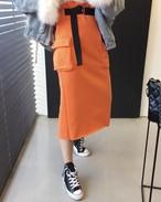 ベルトストリートロングスカート ロングスカート 韓国ファッション