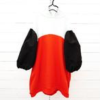 2TONE FOODED SWEAT DRESS -BEAR MT SLEEVES / WOMEN