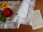 【バラのレース】素敵なバラのレースがあしらわれたテーブルセンター /ヴィンテージ・未使用品 ドイツ