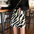 ゼブラAラインミニスカート ゼブラ スカート 韓国ファッション