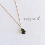 14KGF 高品質天然石ー深緑グリーントルマリンの一粒ネックレス(調整チェーン)