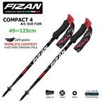 FIZAN フィザン トレッキングポール アジャスタブル 可変4段 49-125cm COMPACT4 Red 2本セット FZ-7105 世界最軽量169g アルミニウム fz-7105