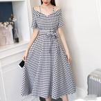 【dress】デートワンピース気質アップチェック柄ベルト付きキャミソール
