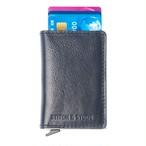 ■HS-NVY ステッチ&スタッズ HIDE&SEEK ミニウォレット クレジットカードケース ネイビー