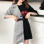 【dress】ファッション半袖格子膝上ラウンドネック切り替えプルオーバーハイウエストAラインカジュアルワンピース12941856