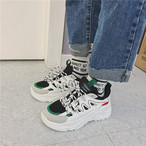 【shoes】カジュアルヒットカラーPU厚底スニーカー14291416