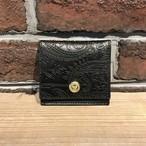 スクエアコインケース ペイズリー型押し革 Black