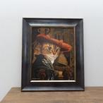 赤い帽子の猫【額装作品】版画