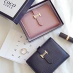 二つ折りミニ財布 ゴールド金具 レザーウォレット 全4色