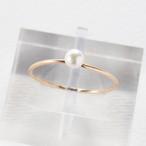 アコヤ真珠*プチパールのひとつぶ華奢リング~3.5mm珠・14KGF