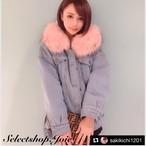 【サキ吉様着用 Pink Mサイズ即発送】ボリュームファー デニムボアジャケット 2色展開