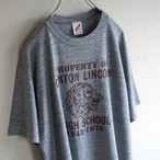 1980's USA製 [JERZEES] ライオンヘッド 5段プリント Tシャツ 杢グレー 表記(XL)