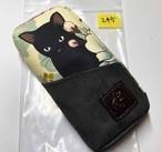 黒猫と革のL字ファスナーポーチ(ベージュxグレースエード) [245-pt]