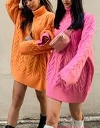 ニットボリュームミニワンピース ニット セーター 韓国ファッション