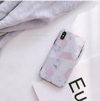【XR/Xs対応】ホワイトミント×大理石風ピンクジオメトリー(SPCa0175)◆スマホケース/iPhoneケース