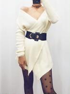 ラップニット ニット セーター ワンピース 韓国ファッション