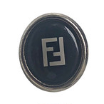 【VINTAGE FENDI BUTTON】Ellipse ブラック BIG ボタン 1.8×2㎝