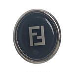 【VINTAGE FENDI BUTTON】Ellipse ブラック BIG ボタン 1.8×2㎝
