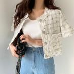 ツイード ジャケット 半袖 韓国 ファッション レディース オルチャン 春 夏 大人カジュアル