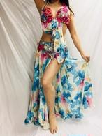 エジプト製 ベリーダンス衣装 花柄水色&ピンク