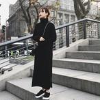 【dress】ニットワンピース無地ハイネックロング丈マキシワンピース