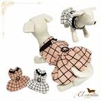 4。犬 服 犬服 ペット ワンピース ピンク ホワイト 格子柄 袖なし 春 秋 冬