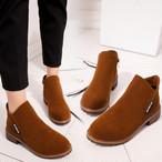 【shoes】スエードレトロ丸トゥ上品らしいブーツ 23874356