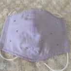 立体裁断マスク ガラスストーン付き 2重ガーゼラベンダー
