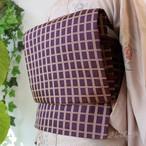 正絹 深紫(ふかきむらさき)に格子のなごや
