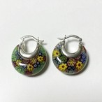 Vintage Millefiori Murano Glass 925 Silver Hinged Pirced Earrings