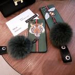 【送料無料】大き目ファー& ストラップ付 トラ ハチデザイン iPhone ケース RG0015