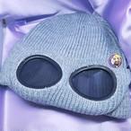 サングラスニット帽 グレー