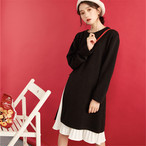 【dress】シンプル無地膝丈ラウンドネックスリットデートワンピース12943091