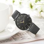 メンズ レディース 腕時計 ラウンド ブラック 黒 クォーツ時計 メッシュ ステンレススチールバンド 高品質 カジュアル ギフト Lynn-44-I
