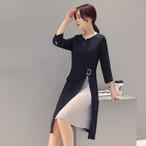 【dress】フォーマルワンピース気質アップ切り替え長袖ラウンドネック