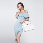 オフショルダー S〜XL ドレス イレギュラーヘム フリル 夏らしい雰囲気に♫