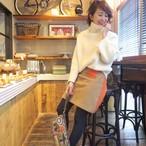 バイカラースカート(オレンジ×キャメル)