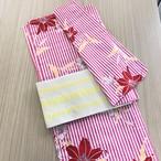 浴衣 ゆかた ピンク 縦縞 モダン