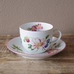 ロイヤルウースター アシュフォード 花柄 コーヒーカップ ソーサー ピンク #200930-1~4 イギリス Royal Worcester Ashford 食器 陶磁器 ヴィンテージ