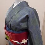 正絹紬 ブルーグレーに緑の麻の葉模様 袷の着物