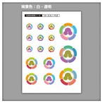 家紋ステッカー 五瓜に州浜  5枚セット《送料無料》 子供 初節句 カラフル&かわいい 家紋ステッカー