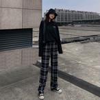 【送料無料】 メンズライクパンツ♡ ハイウエスト チェック柄 ワイドレッグ ストレートパンツ ストリート カジュアル