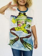 カエル泳ぎカエルTシャツ(ホワイト)