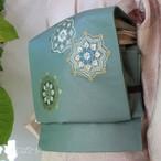 正絹 浅葱鼠に刺繍の袋帯 作家物