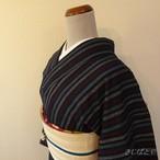 綿 紺地にトリコロールの縞の小紋 単衣