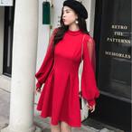 【dress】デートワンピースパプスリーブ2色ハイウェスト着やせドレス