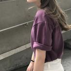 04TA309 袖ロールアップ ルーズTシャツ パープル 無地 半袖 Tシャツ シンプル カジュアル 2019春夏 韓国ファッション オルチャン トレンド プチプラ かわいい おしゃれ
